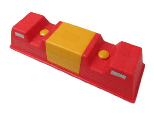 Red & Yellow Garage Car Parking Aid with Fittings - Wheel Stopper Motorhome Caravan